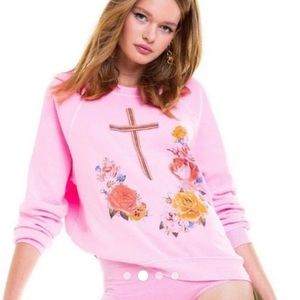 Wildfox pink floral cross sweatshirt
